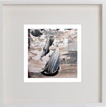 White Framed Print with Modern Art By Artist Sarah Jane - Feathers Lb