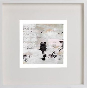 White Framed Print with Modern Art By Artist Sarah Jane - Feathers VIIb