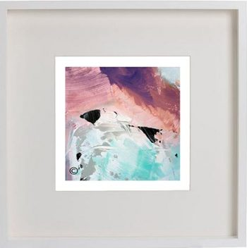 White Framed Print with Modern Art By Artist Sarah Jane - Feathers Va