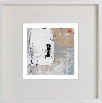 White Framed Print with Modern Art By Artist Sarah Jane - Feathers XIVa