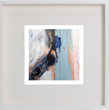 White Framed Print with Modern Art By Artist Sarah Jane - Freedom XVIIIa