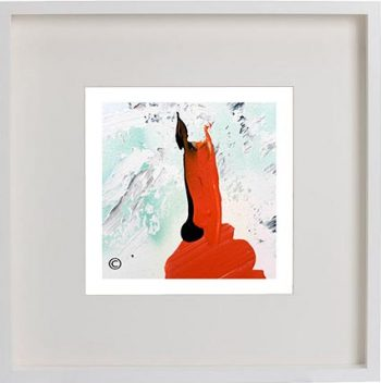White Framed Print with Modern Art By Artist Sarah Jane - Goatey II