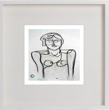 White Framed Print with Modern Art By Artist Sarah Jane - Linear II