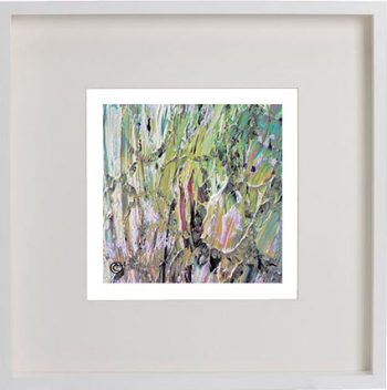 White Framed Print with Modern Art By Artist Sarah Jane - New Life IVb