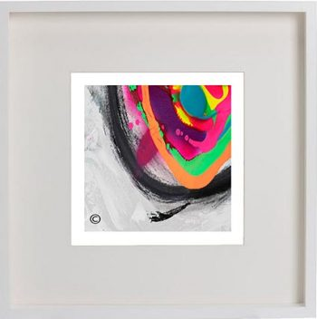 White Framed Print with Modern Art By Artist Sarah Jane - Noisy Mind X