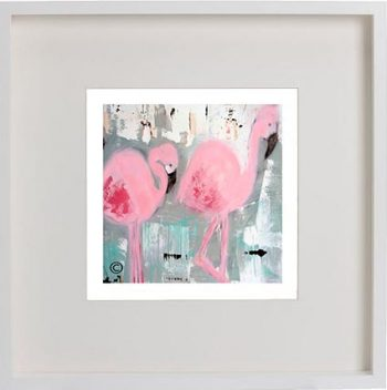 White Framed Print with Modern Art By Artist Sarah Jane - On the Move II