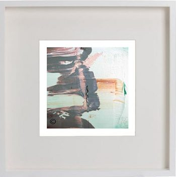 White Framed Print with Modern Art By Artist Sarah Jane - On the Move Lb
