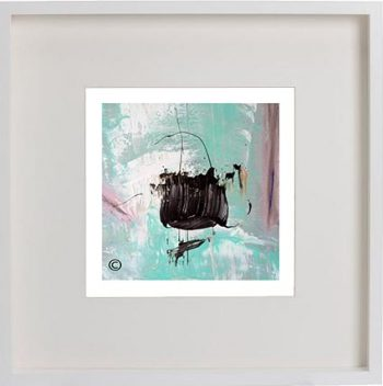 White Framed Print with Modern Art By Artist Sarah Jane - On the Move VIc