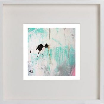 White Framed Print with Modern Art By Artist Sarah Jane - On the Move X