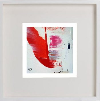White Framed Print with Modern Art By Artist Sarah Jane - On the Move XX