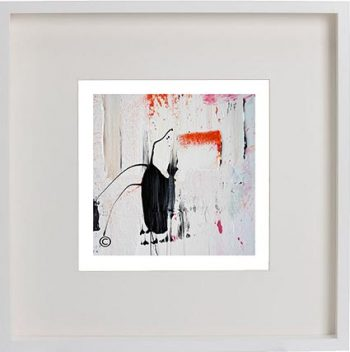 White Framed Print with Modern Art By Artist Sarah Jane - On the Move XXIX