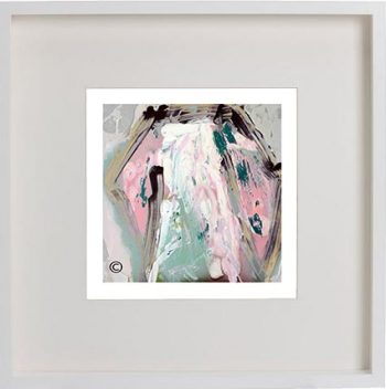 White Framed Print with Modern Art By Artist Sarah Jane - One of Us VIc