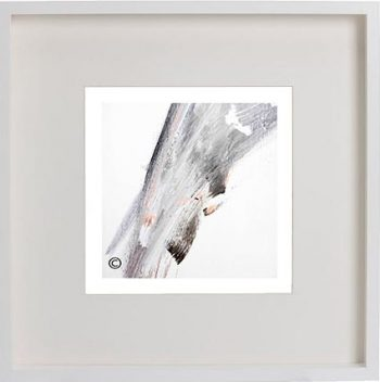 White Framed Print with Modern Art By Artist Sarah Jane - Peach II