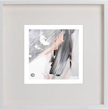 White Framed Print with Modern Art By Artist Sarah Jane - Peach III