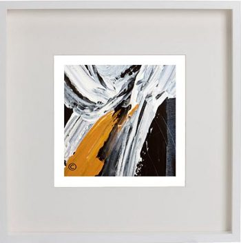 White Framed Print with Modern Art By Artist Sarah Jane - Playful Pair IIIc