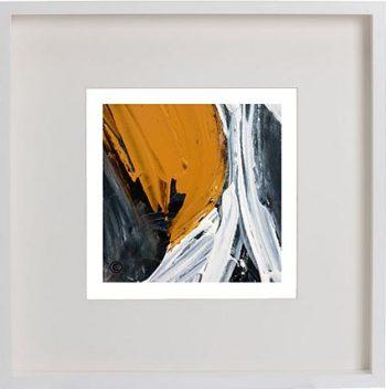 White Framed Print with Modern Art By Artist Sarah Jane - Playful Pair IIc