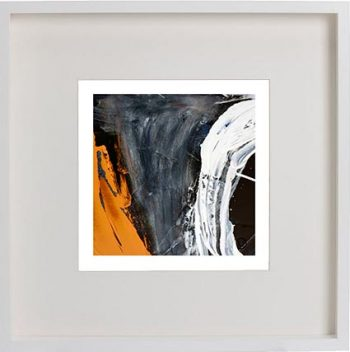 White Framed Print with Modern Art By Artist Sarah Jane - Playful Pair IVc