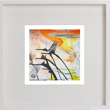 White Framed Print with Modern Art By Artist Sarah Jane - Reaching Out II