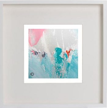 White Framed Print with Modern Art By Artist Sarah Jane - Reaching Out LV