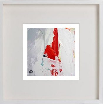 White Framed Print with Modern Art By Artist Sarah Jane - Reaching Out VII