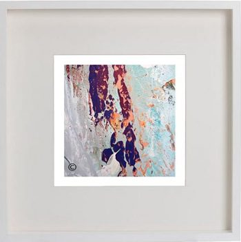 White Framed Print with Modern Art By Artist Sarah Jane - Reaching Out XVIIa