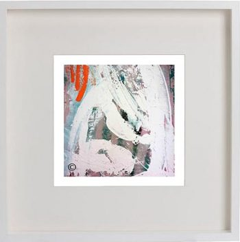 White Framed Print with Modern Art By Artist Sarah Jane - Reaching Out XXVa