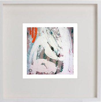 White Framed Print with Modern Art By Artist Sarah Jane - Reaching Out XXVa
