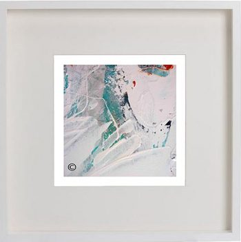 White Framed Print with Modern Art By Artist Sarah Jane - Reaching Out XXXII