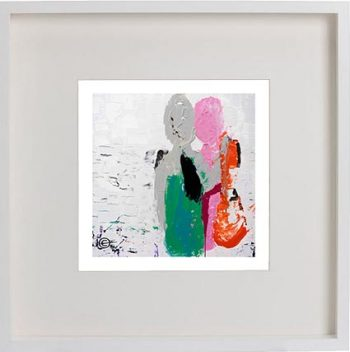 White Framed Print with Modern Art By Artist Sarah Jane - Relax I