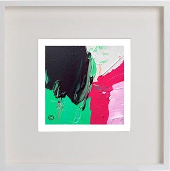 White Framed Print with Modern Art By Artist Sarah Jane - Relax III