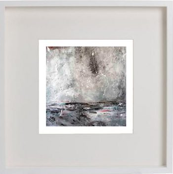 White Framed Print with Modern Art By Artist Sarah Jane - Storm I