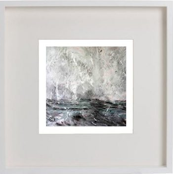 White Framed Print with Modern Art By Artist Sarah Jane - Storm III