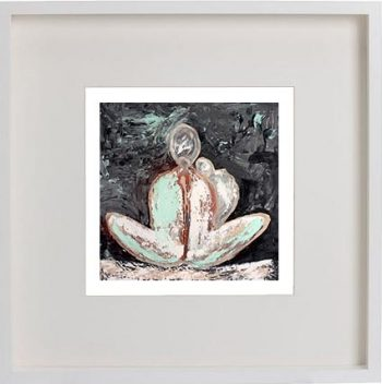 White Framed Print with Modern Art By Artist Sarah Jane - Tenderness I