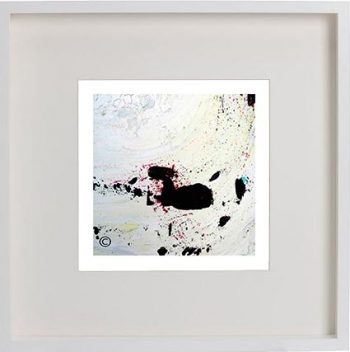 White Framed Print with Modern Art By Artist Sarah Jane - Unconditional Love II