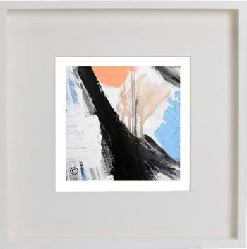 White Framed Print with Modern Art By Artist Sarah Jane - Warrior II