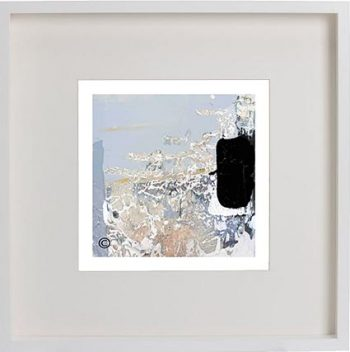 White Framed Print with Modern Art of the ocean foreshore By Artist Sarah Jane - Beautiful VIII