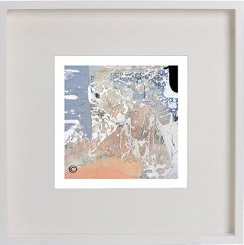 White Framed Print with Modern Art of the ocean foreshore By Artist Sarah Jane - Beautiful X