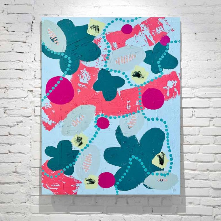 abstract painting botanicals right colours flower bees titled pollination ii by artist sarah jane
