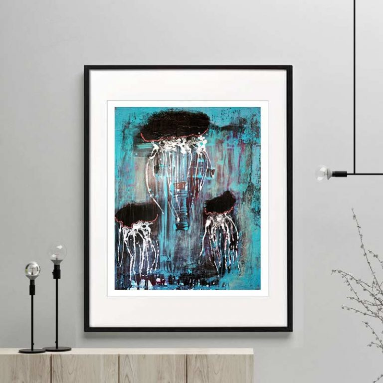 animal print jellyfish ocean modern abstract titled jellyfish i framed or unframed by sarah jane australian artist