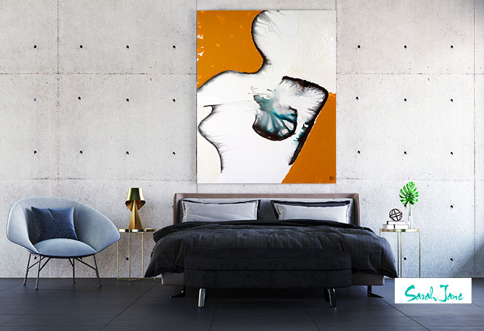 australian artist sarah jane original figurative abstract painting woman titled silhouette in contemporary bedroom