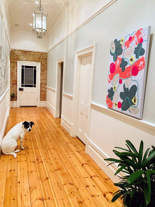 australian period home hallway with sarah jane original contemporary painting about bees and plants titled pollination ii