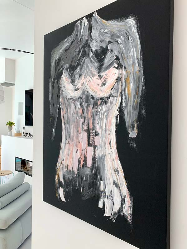 beautiful painting of a womans body in pink titled isolation ii by aussie artist sarah jane