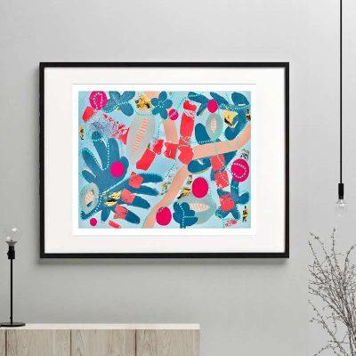 botanical print colourful modern abstract titled pollination ia framed or unframed by sarah jane australian artist