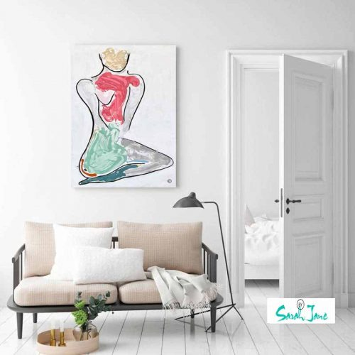 casual-romantic-living-room---colourful-figurative-abstract-woman-kneeling-bodyline-bold-iii-painting-artist-sarah-jane