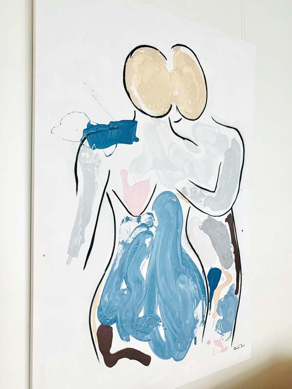 close up detail bodyline vii painting by aussie artist sarah jane