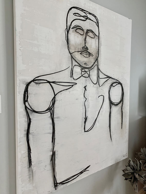close up detail line art painting man linear i by sarah jane artist