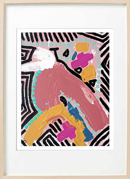 colourful abstract fine art print bird - Sarah Jane Art - Australiana IIIa - Birch effect frame