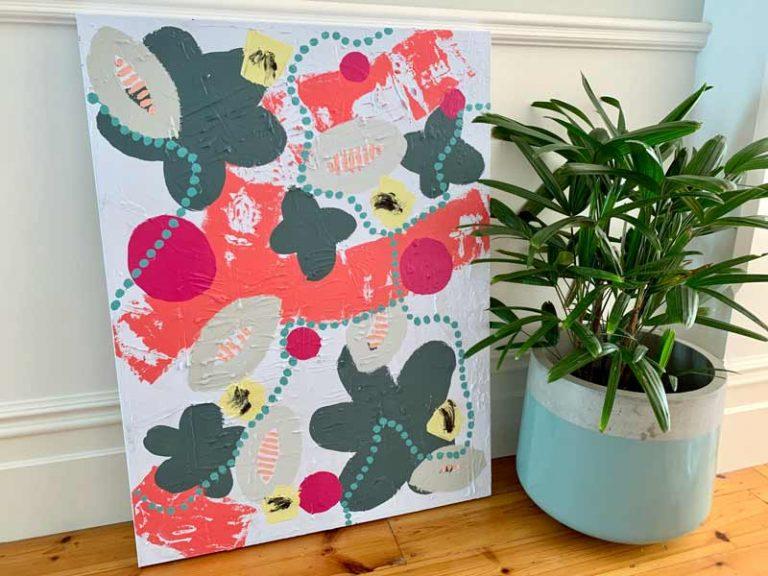 colourful botanical painting pollination ii sarah jane gallery adelaide