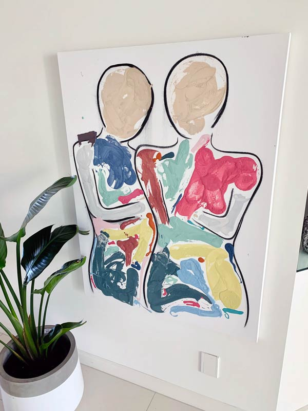 colourful people painting by sarah jane artist titled bodyline bold i