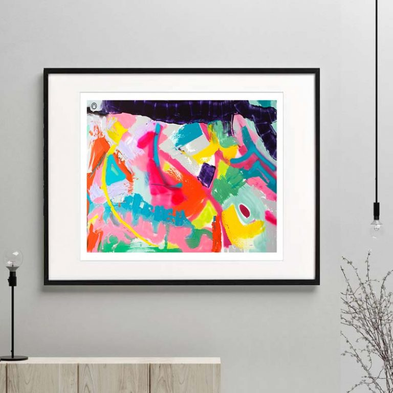 colourful print modern abstract titled colour me happy i by sarah jane australian artist framed or unframed
